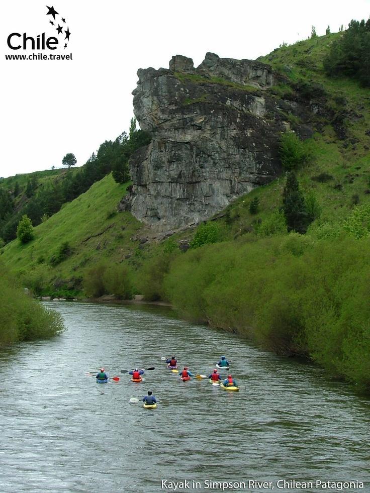Kayak in Simpson River, Chilean Patagonia