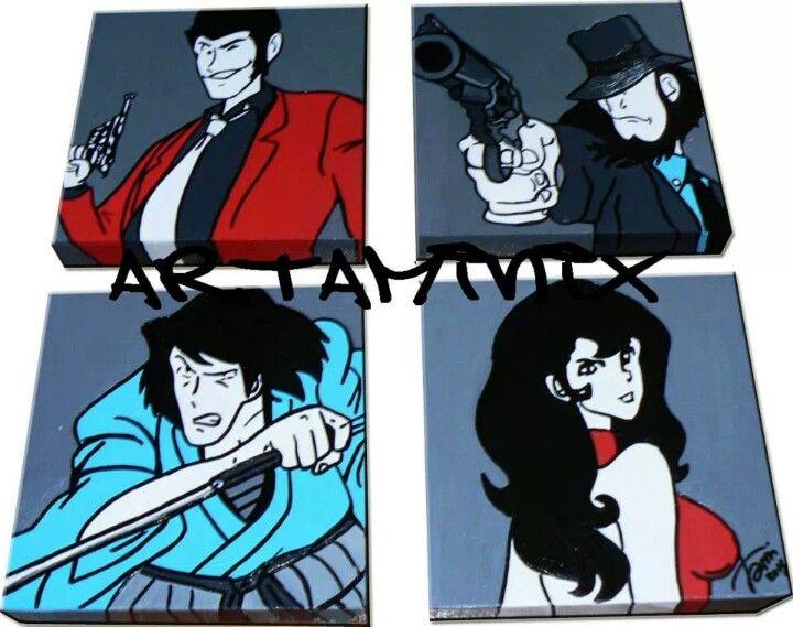 Lupin banda #handmade #comic #fumetti #fujiko #Margot #goemon #gigen #paint #pop #mitico