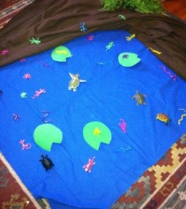Make a pond out of felt with fish and turtles etc… for the kids!