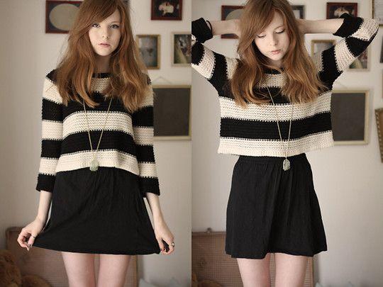 Sweater over skirt