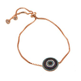 Handmade evil eye bracelet, made of pink gold plated silver 925o with turquoise and black, white and blue zirconia and white zirconia endings - Χειροποίητο ασημένιο βραχιόλι μάτι από ροζ επιχρυσωμένο ασήμι 925ο με τυρκουάζ πέτρες, λευκά, μαύρα και μπλέ ζιργκόν.