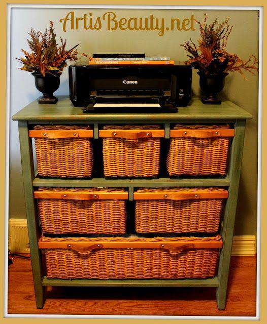 ART IS BEAUTY: Wicker storage basket Dresser MAKE OVER!