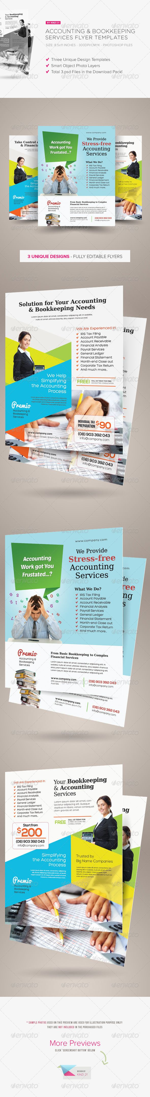 Accounting and Bookkeeping Services Flyers are design templates created for sale on Graphic River. More info of the templates and how to get the sourcefiles can be found on this page: http://graphicriver.net/item/accounting-and-bookkeeping-services-flyers/6516706?r=kinzi21