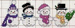 Pupazzi di neve - punto croce - cross Stitch - Kreuzstich - Punto de Cruz