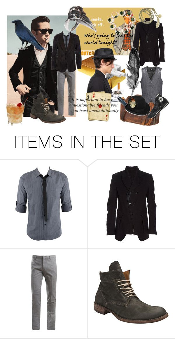 """""""Tommy Gunn"""" by verysmallgoddess ❤ liked on Polyvore featuring art, pinstripe suit, brown, gold, fictional characters, joseph gordon levitt and black bowler mens hat"""
