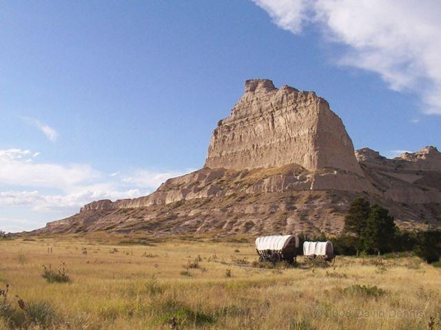 Scottsbluff, Nebraska - where the ruts of the wheels of the wagon trains of the Oregon Trail can still be seen.