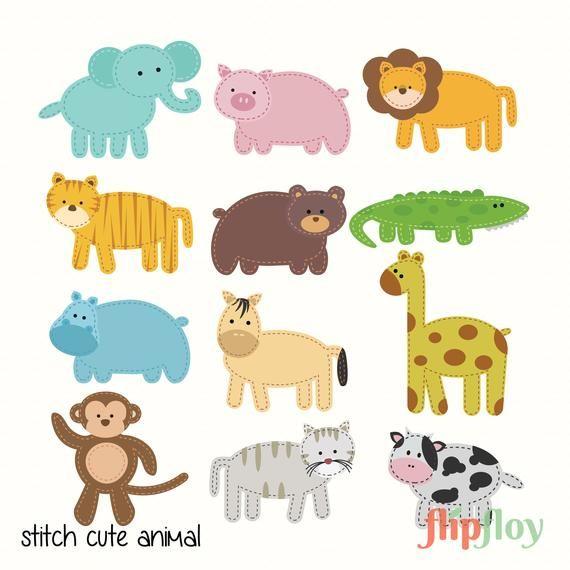 Scrapbook Sitch Animal Instant Download 12 Colorful Animal Etsy Colorful Animals Animal Clipart Animals