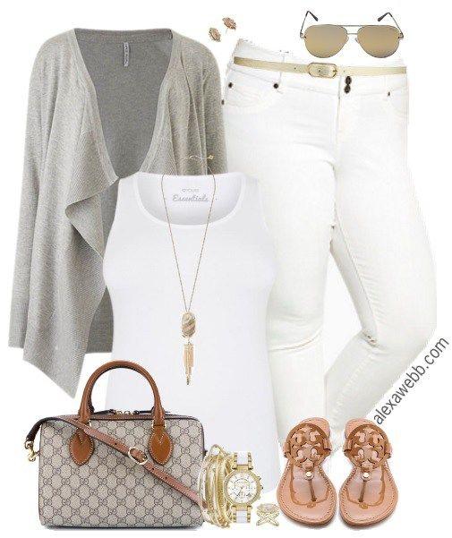 Plus Size White Jeggings Outfit - Plus Size Fashion for Women - alexawebb.com #alexawebb