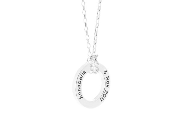 Picture of BABE   Silver   Blackened Engraving PETITE silver chain