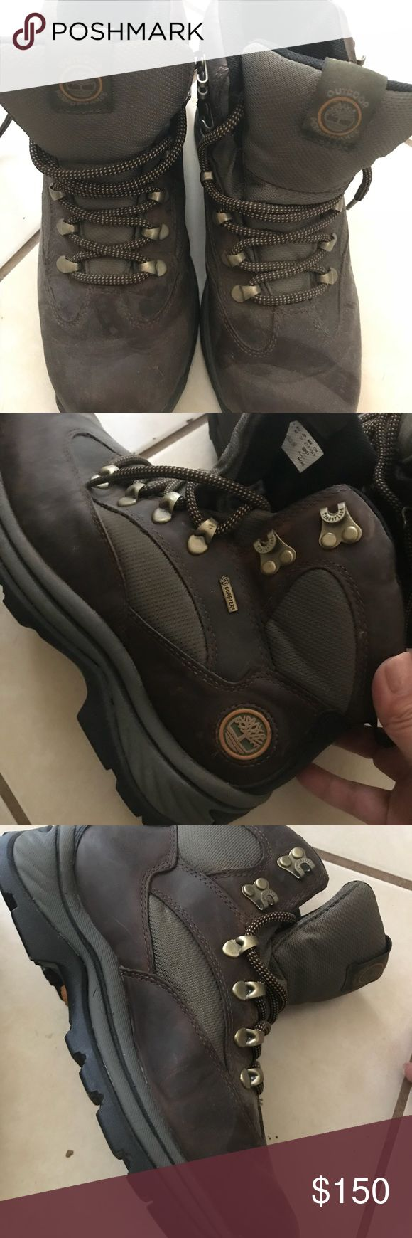 Timberland hiking boots Timberland hiking boots. Only worn once, for one weekend campout and was not exposed to water or mud. They are essentially in excellent condition. Leather, waterproof, padded ankle support. These boots are made for walkin'! Timberland Shoes Boots