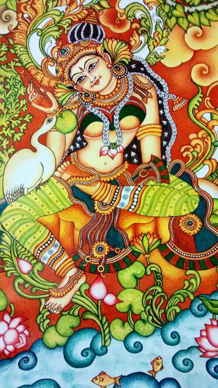 28x39 Kerala Mural Painting Hamsa Damayanti Raja Ravi