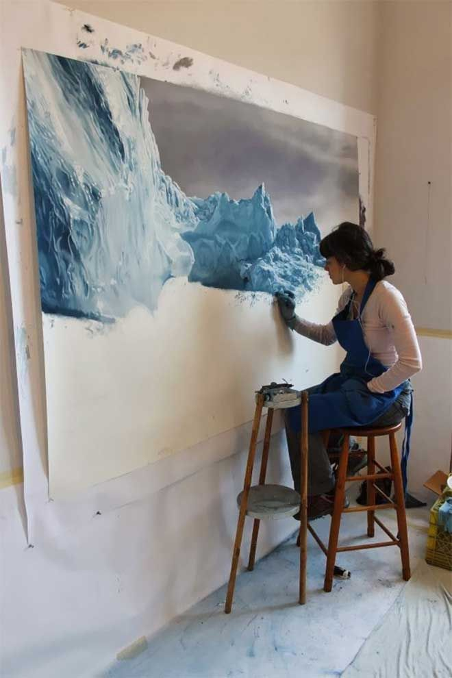 The San Francisco Globe.. Zaria Forman is no ordinary artist. Her work isn't just moving and dramatic but the most impressive part...? She paints with her FINGERS.: