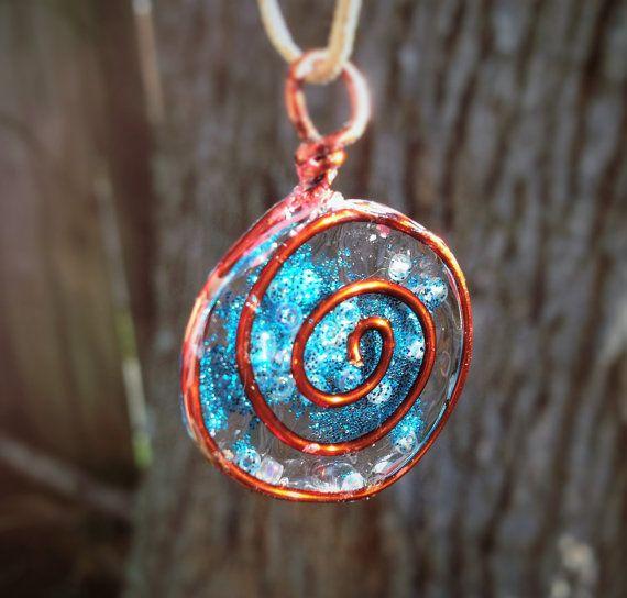 Blue Spiral pendant by AshkaraDesign on Etsy