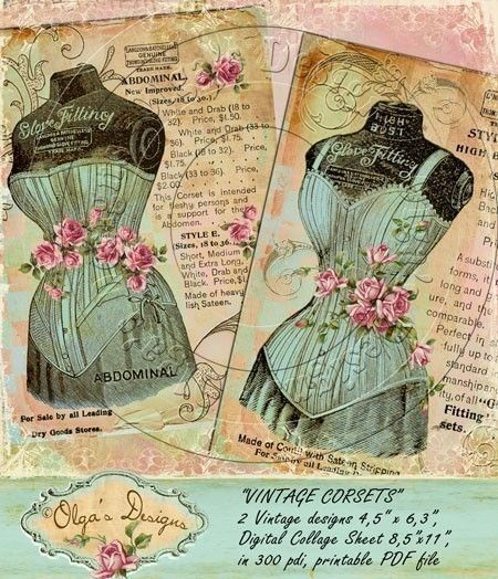 Vintage corsets, 2 designs 4,5 x 6,3 inches, Digital collage sheet, Printable PDF file