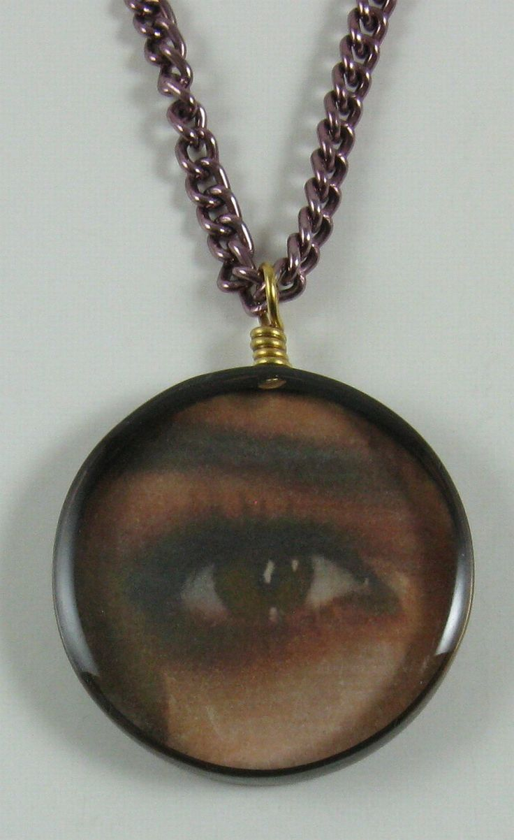 Pendant, copper, resin and picture, eye 001 by crquack on Etsy