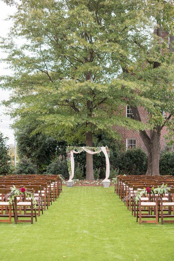 Autumn Colored Wedding in North Carolina- greenery altar- ceremony style