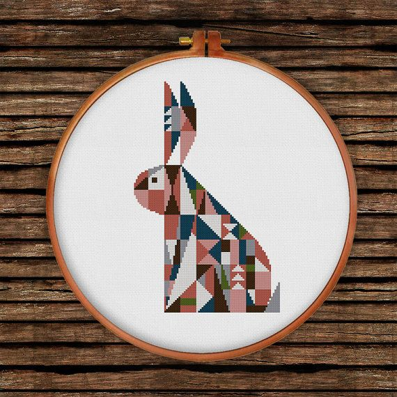 Geometrische Bunny cross stitch patroon | Moderne folk bunny geteld cross stitch grafiek | Kinderdagverblijf baby dier cross stitch grafiek | Baby kamer decor