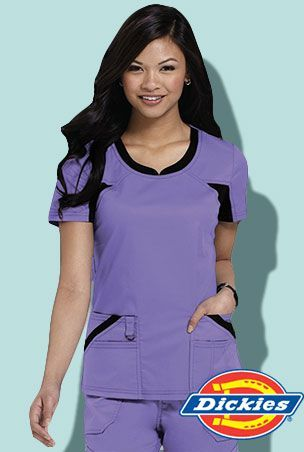 82705 Dickies Performance System Jr. Fit V-Neck Knit Panel Scrubs Top