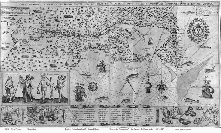 Samuel de Champlain's Carte geographique de la Nouvelle Franse faictte par le sieur de Champlain Saint Tongois cappitaine ordinaire pour le Roy en la Marine (1612).
