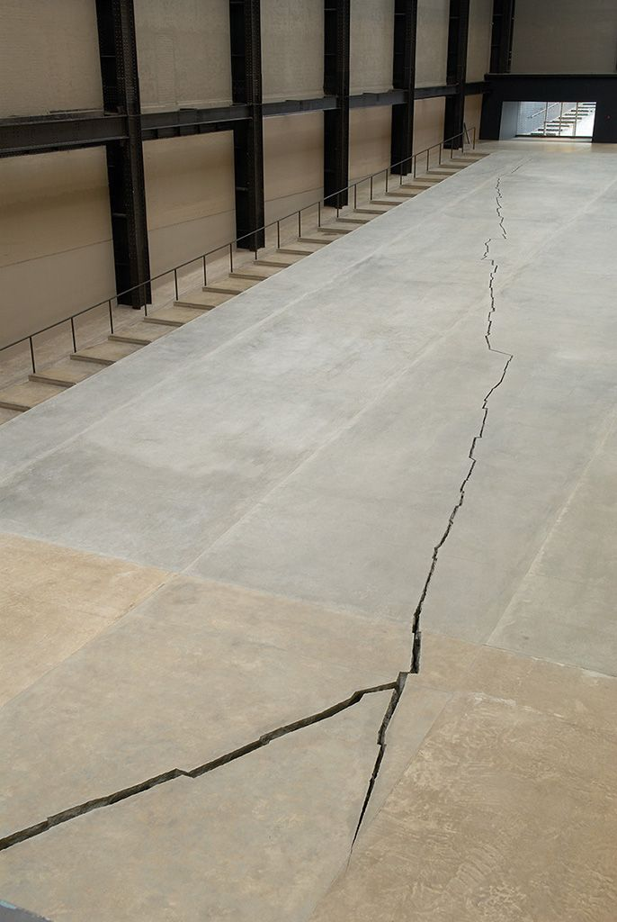 """Shibboleth by Doris Salcedo at the Tate Modern. """"This 548-foot-long crack created in the floor of the Turbine Hall at Tate Modern, London, drew attention to the postcolonial fissures in society that persist today."""""""
