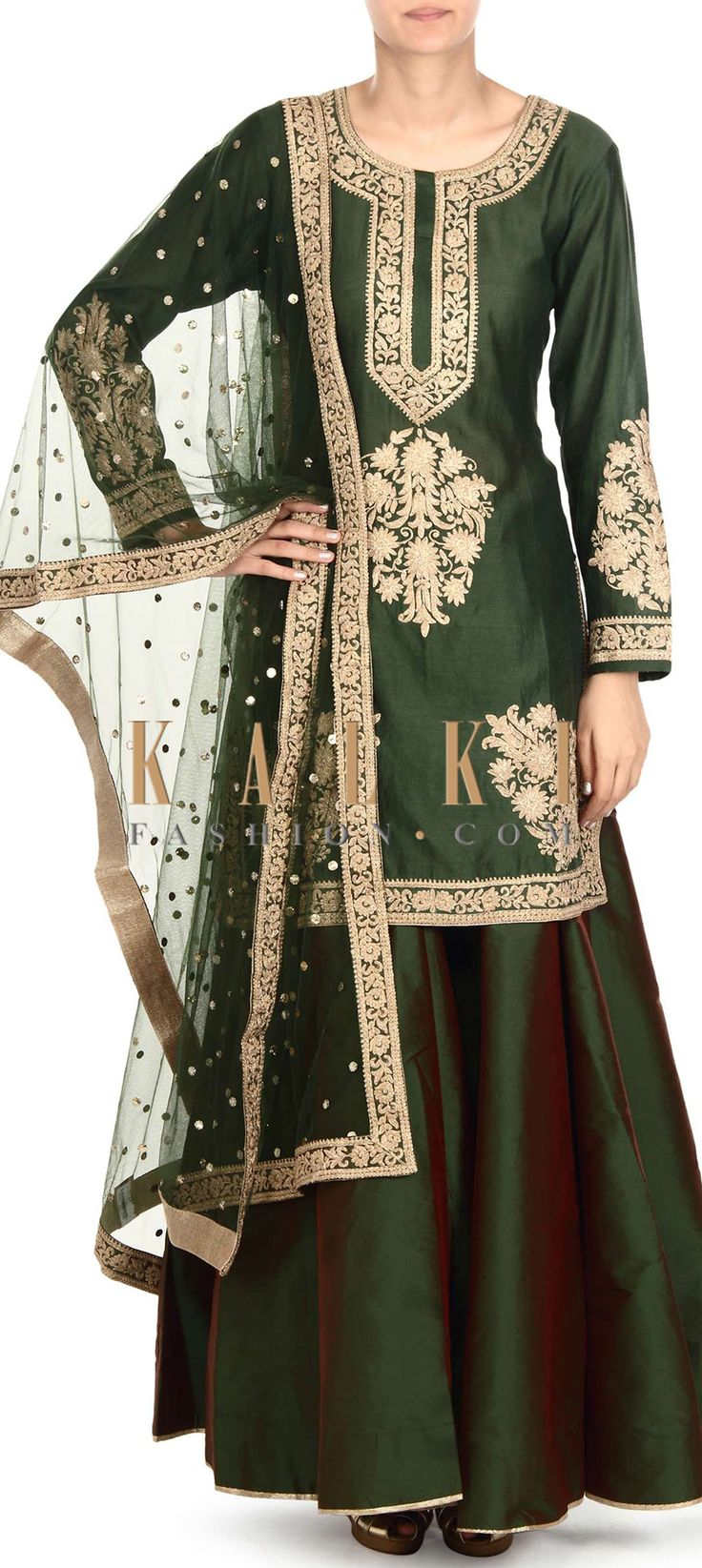 Buy this Olive green straight suit adorn in zari embroidery only on Kalki