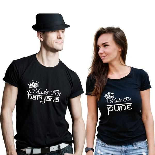 1eff751c Made in Pune Made in Mumbai Custom Couple T-Shirt | Couple T-Shirts ...