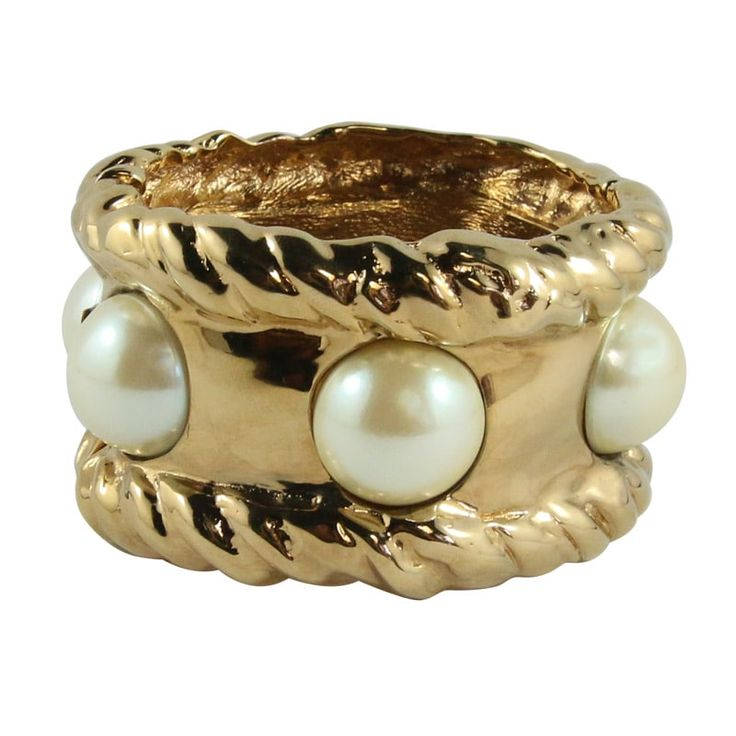 Ciner NY 24kt Gold / Faux Pearl Statement Cuff
