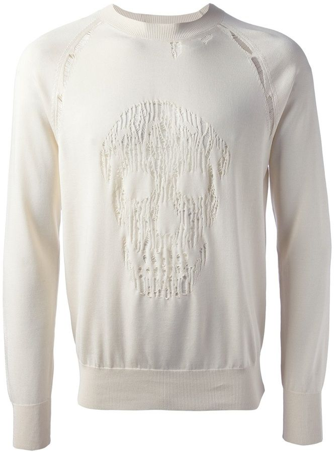 Alexander McQueen distressed skull sweater on shopstyle.co.uk