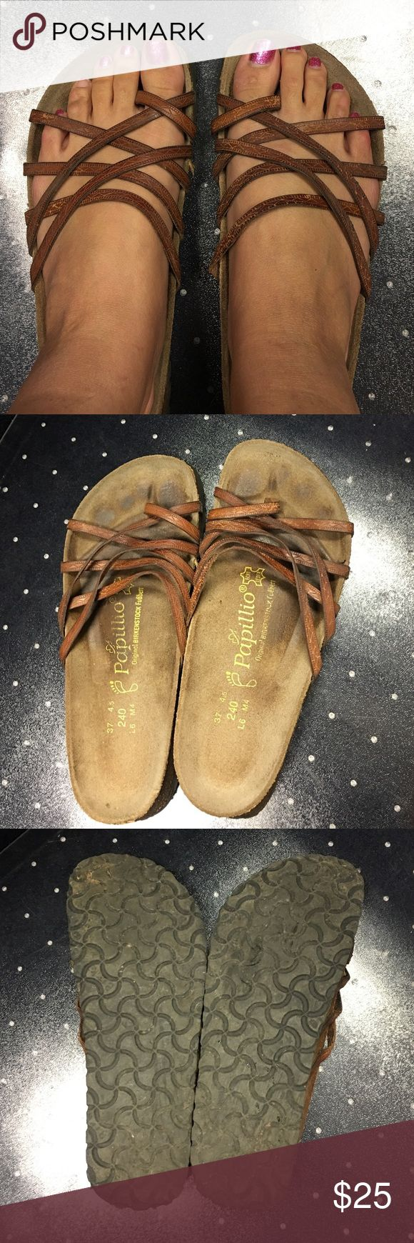 Papillio Birkenstock Sandals!! Used but still wearable and in good condition. They are Birkenstock sandals and the style is papillon and it is a dark brown. None of the straps are ripped! Birkenstock Shoes Sandals