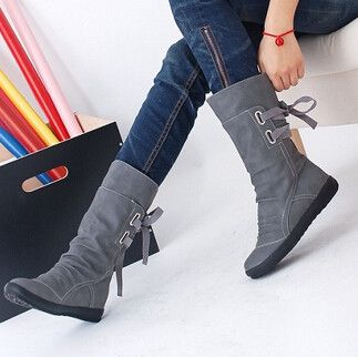 Mid-Calf Solid Flats Winter Boots Women Warm Plush Boots