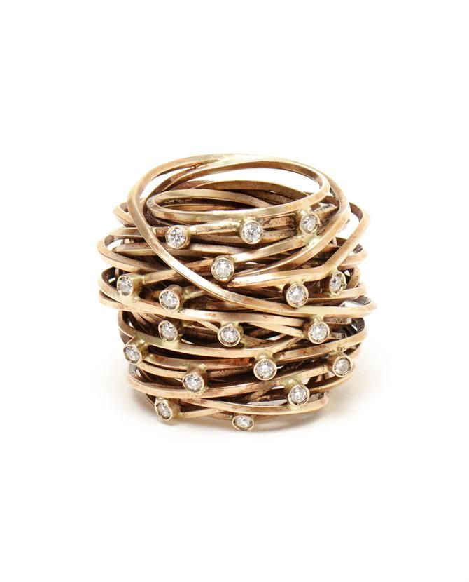 Diamond and gold ring 'Nest' Pintaldi Maurizio