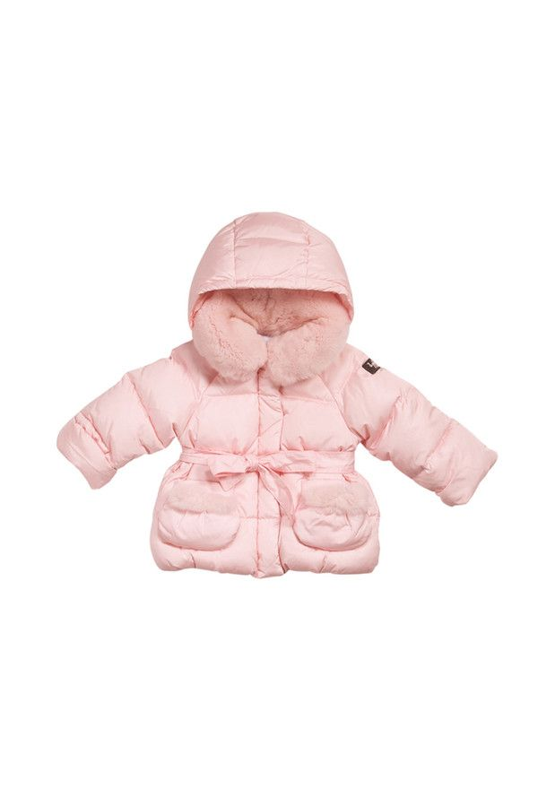 Nylon taffeta down-filled jacket with detachable hood and narrow belt at waist. #ilgufo #fw13 #shopping #downjacket #fashionkids #childrenswear #fashion #musthave #newborn #girls