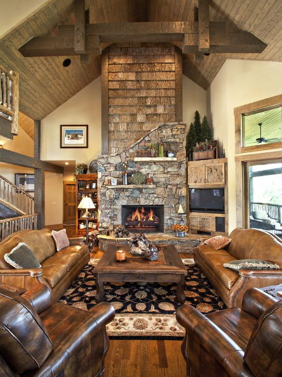 Traditional living room log cabin decorating design for Cabin living room ideas