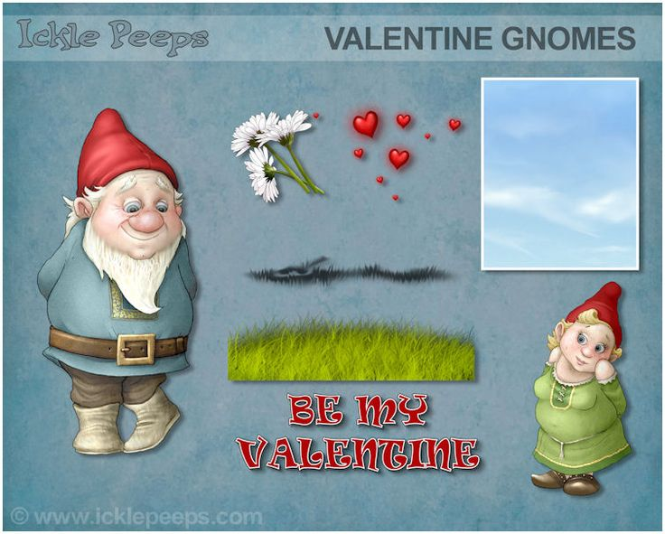 A set of 2 Valentine Gnomes and 5 additional props in PNG format
