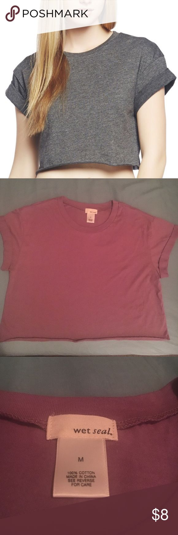 WET SEAL Crop Tee ❗️PRICE IS FIRM❗️FIRST PIC IS THE SAME SHIRT JUST IN A DIFFERENT COLOR: SIZE MEDIUM: COLOR: Mauve: ROLLED SLEEVES (SLEEVES CAN NOT BE UNFOLDED): CUT OFF HEM: NEVER WORE IT; NEW WITHOUT TAGS!; DO YOU SEE THE BUY NOW BUTTON?? IF SO, IT IS STILL AVAILABLE: 🚫NO TRADES, NO MERCARI🚫 Wet Seal Tops Crop Tops
