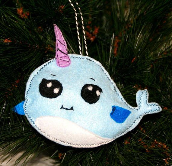 Narwhal Ornament  Nautical Ornament  Beach Ornament   Under