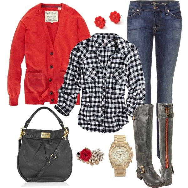 cute outfit: Red Sweaters, Gingham Shirts, Style, Cute Outfits, Red Cardigans Sweaters, Black Plaid Shirts Outfits, Boots, The Cardigans, Black Silv