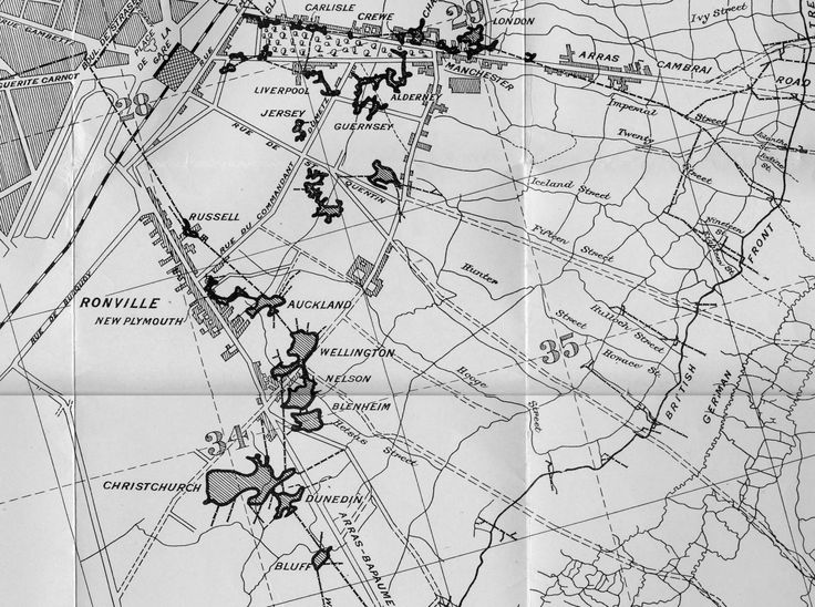 Arras tunnels in France dug by NZ engineers - Map showing the location of the tunnels and caverns around Arras, from J.C. Neill (ed), The New Zealand Tunnelling Company 1915-1919, Whitcombe and Tombs