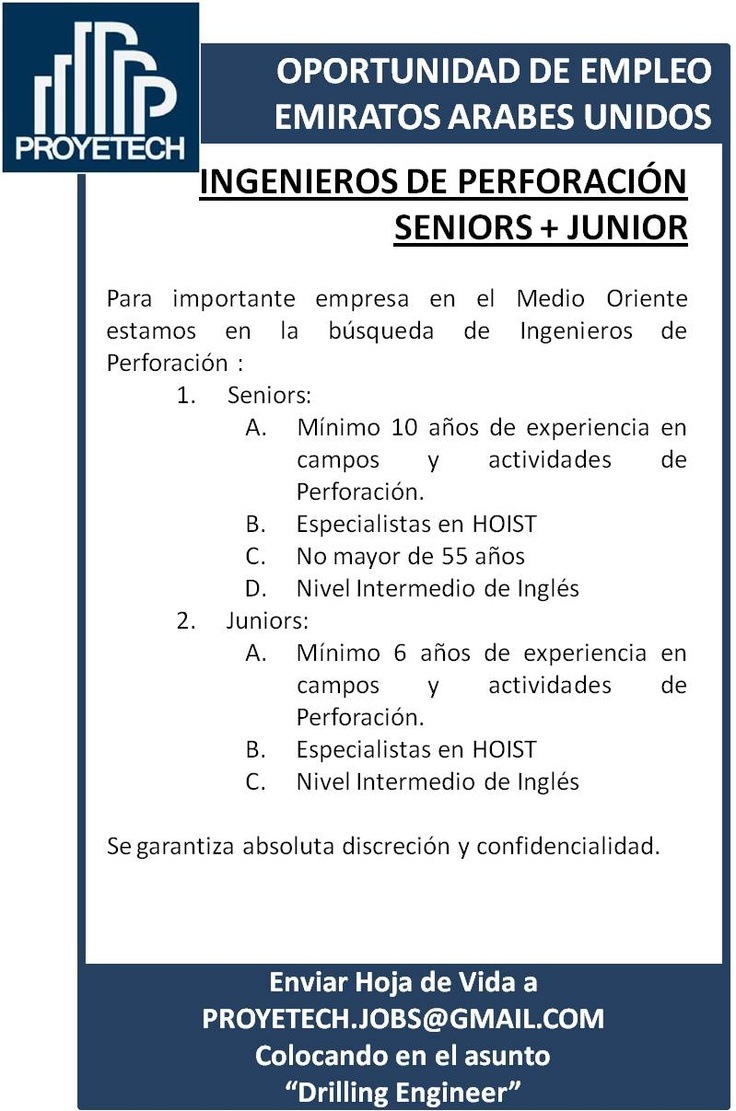 Buscamos Ingenieros de Perforación para asignación en Emiratos Arabes Unidos #empleo #colombia #venezuela #mexico proyetech.jobs@gmail.com