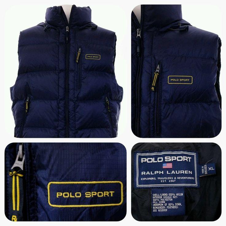 VTG POLO SPORT DOWN Vest Ralph Lauren HOODED Mens XL Puffer Ski Jacket Vintage #PoloRalphLauren #FleeceTops