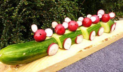 Komkommer-treintje #eten #kinderen