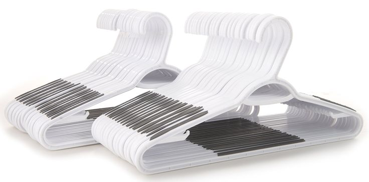 50 pc White Plastic Hangers with Built-In Grip Strip Non-Slip Pads - Perfect for Dresses, Blouses and Pants - Work Great for Shirts, Ties, Scarves and Sweaters