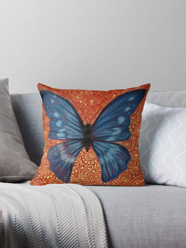 Blue Butterfly Throw Cushion (large) $26.00    #CherieRoeDirksen #Design #homedecor #beautifulliving #lounge #bedroom #homedecoratingideas #homedecorating #cushions