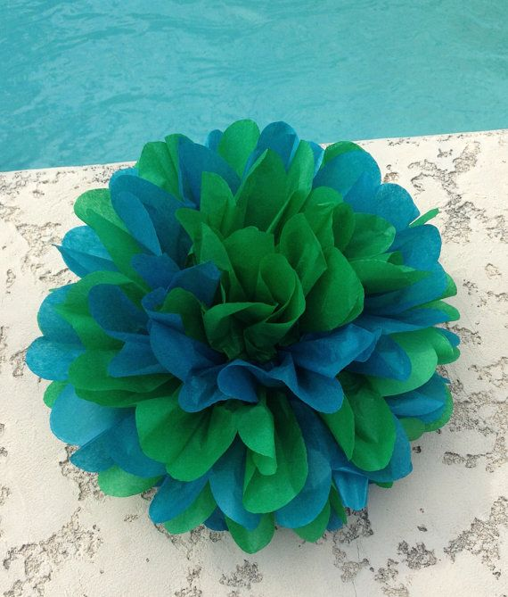 Peacock  1 Mix Tissue Paper Pom ... baby shower / wedding / party decor / birthday / bridal shower / nursery