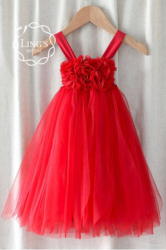 Red Tulle Flower Girl Dress-Christmas by LingsBridal on Etsy