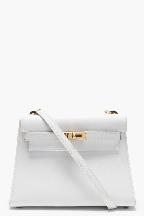 HERMES VINTAGE - SMALL LIMITED EDITION WHITE KELLY SWIFT LEATHER ...