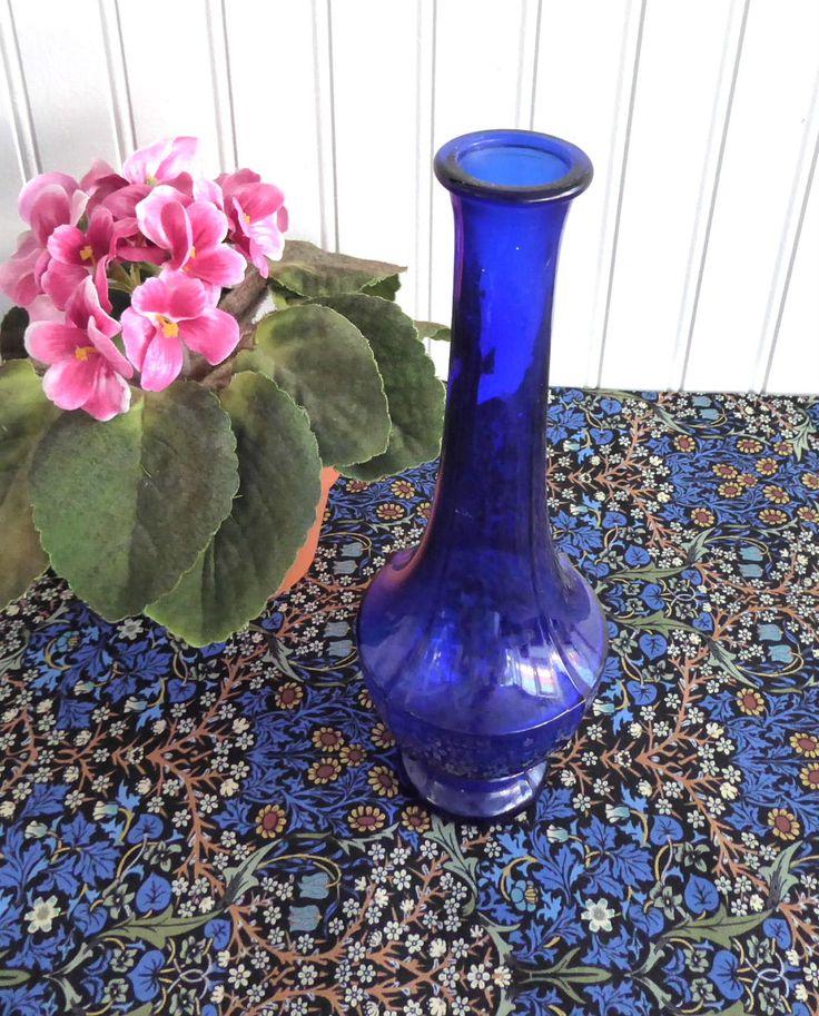 Cobalt Blue Glass Vase 1940s Art Deco Paneled Bud Vase Vintage Art Glass Mold Blown by RuthsBargains on Etsy