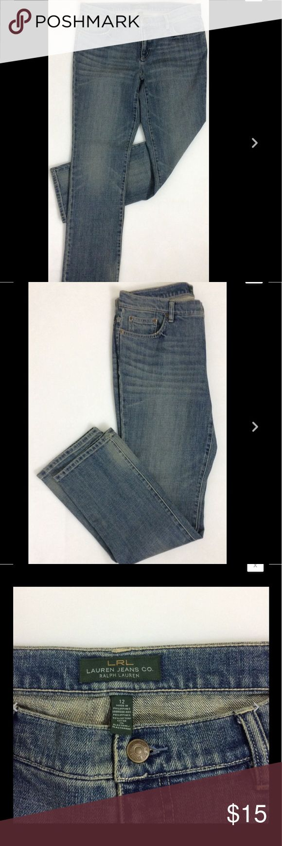 """Womens LRL LAUREN JEANS CO. Straight Cut Jeans(12) Womens LRL LAUREN JEANS CO. Straight Cut Jeans #1356111 / Stretch Cotton Size 12  Waist 32""""  Inseam 31""""  Front Rise 9.5""""   Thanks for looking!   B909 Jeans Straight Leg"""