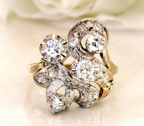 Unique Antique Engagement Ring Art Nouveau by LadyRoseVintageJewel