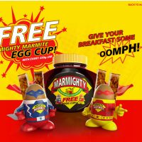 To get your hands on a free 'Mighty Marmite Egg Cup' you do have to buy a 250g jar of Marmite, obviously it has to be the one with the egg cup promotion on it.